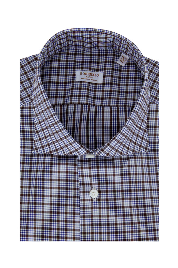 Borriello Brown Plaid Dress Shirt
