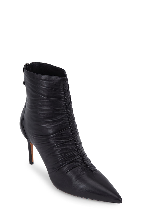 Alexandre Birman Susanna Black Leather Gathered Seam Bootie, 85mm