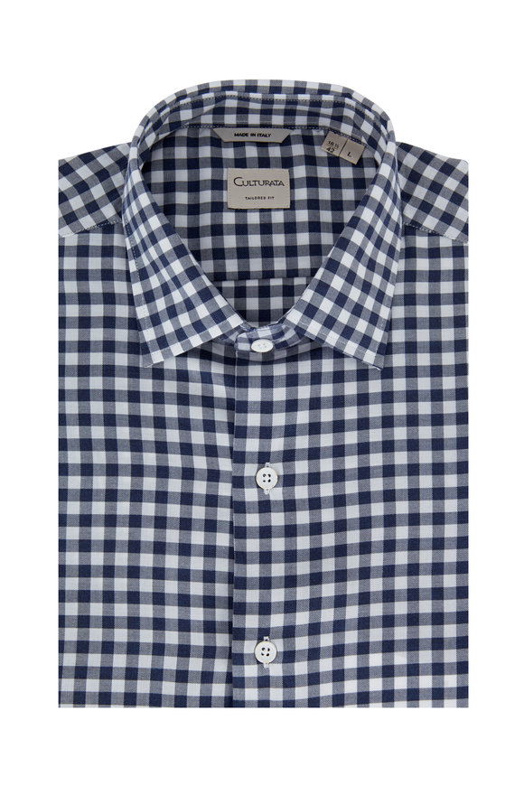 Culturata Navy Blue Check Sport Shirt