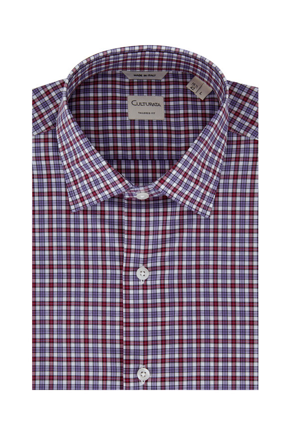 Culturata Purple Check Tailored Fit Sport Shirt