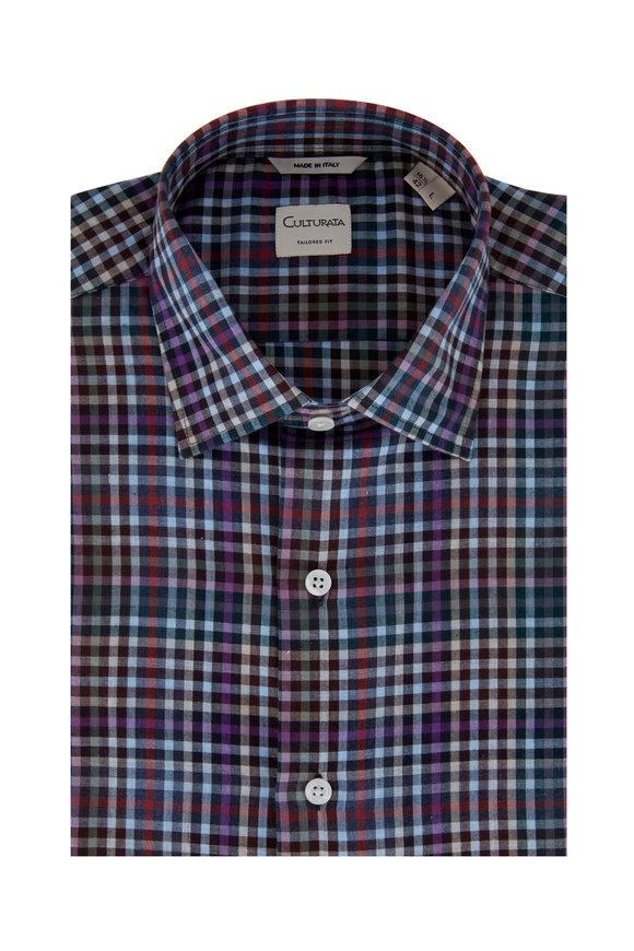 Culturata Burgundy Multi Plaid Tailored Fit Sport Shirt