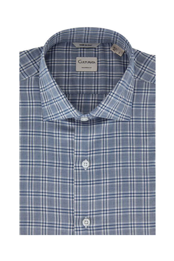 Culturata Blue Plaid Tailored Fit Sport Shirt
