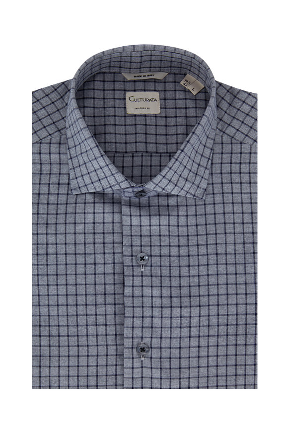 Culturata Gray & Navy Tattersall Tailored Fit Sport Shirt