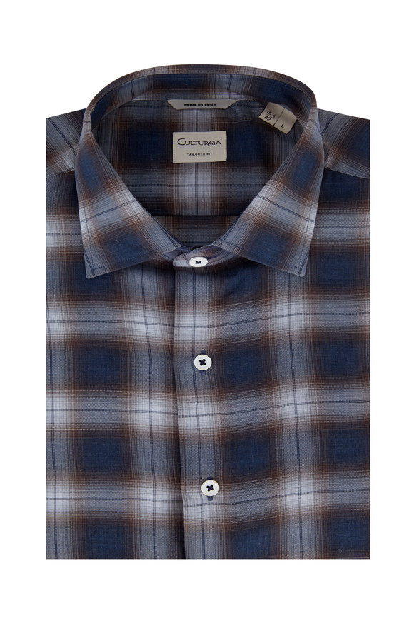 Culturata Blue & Brown Plaid Tailored Fit Sport Shirt