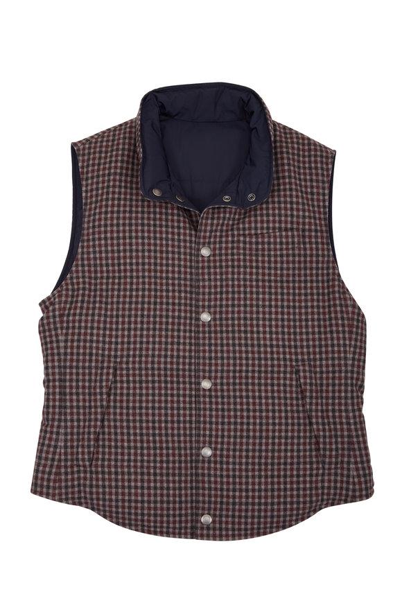 Brunello Cucinelli Gray & Navy Check Reversible Down Vest
