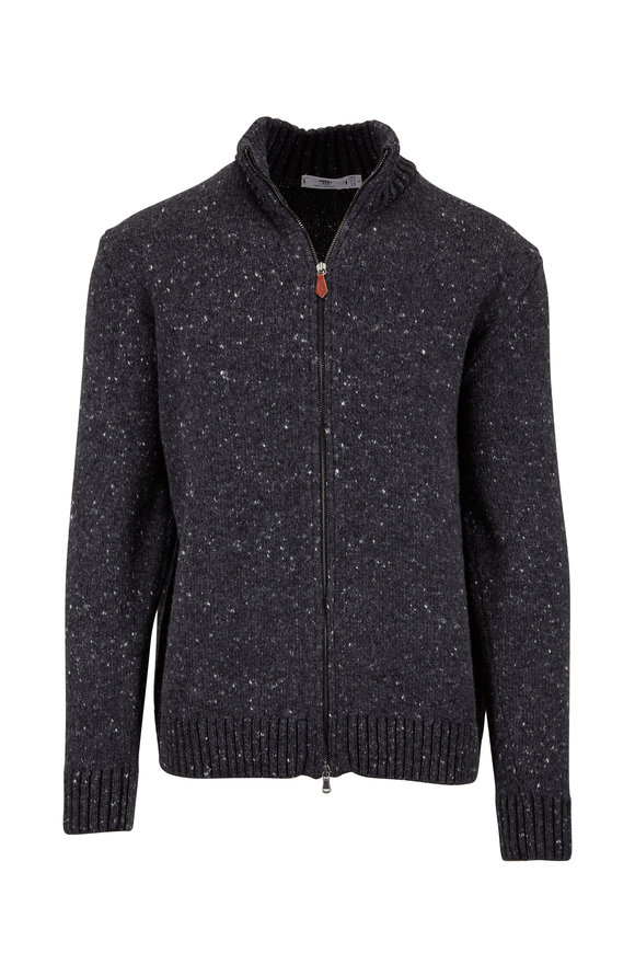 Inis Meain Knitting Co. Charcoal Wool & Cashmere Zip Cardigan