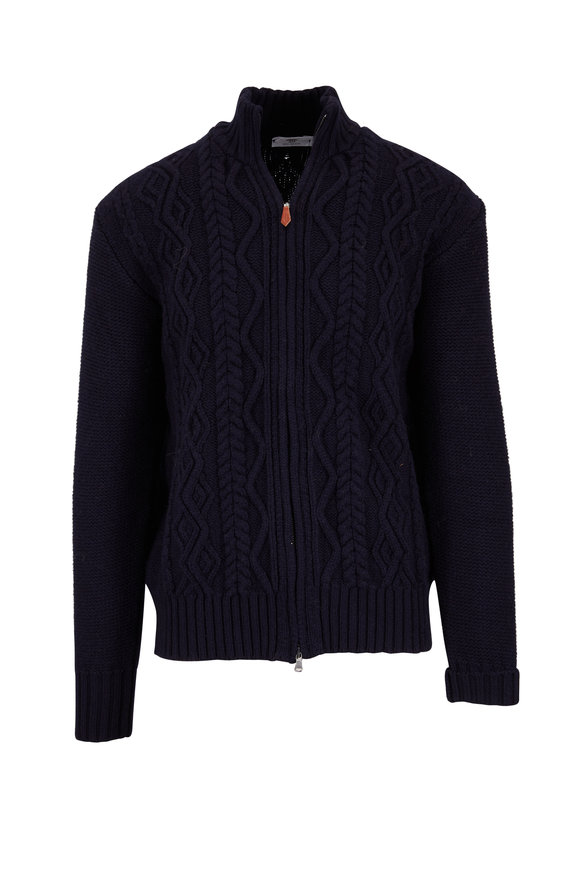 Inis Meain Knitting Co. Navy Wool Front Zip Cable Knit Cardigan