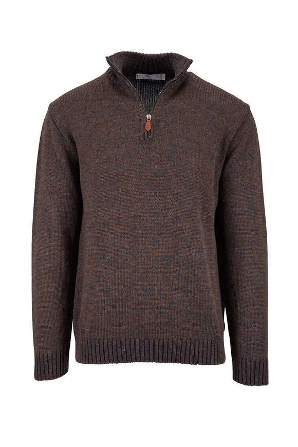 Inis Meain Knitting Co. Brown & Charcoal Quarter-Zip Pullover