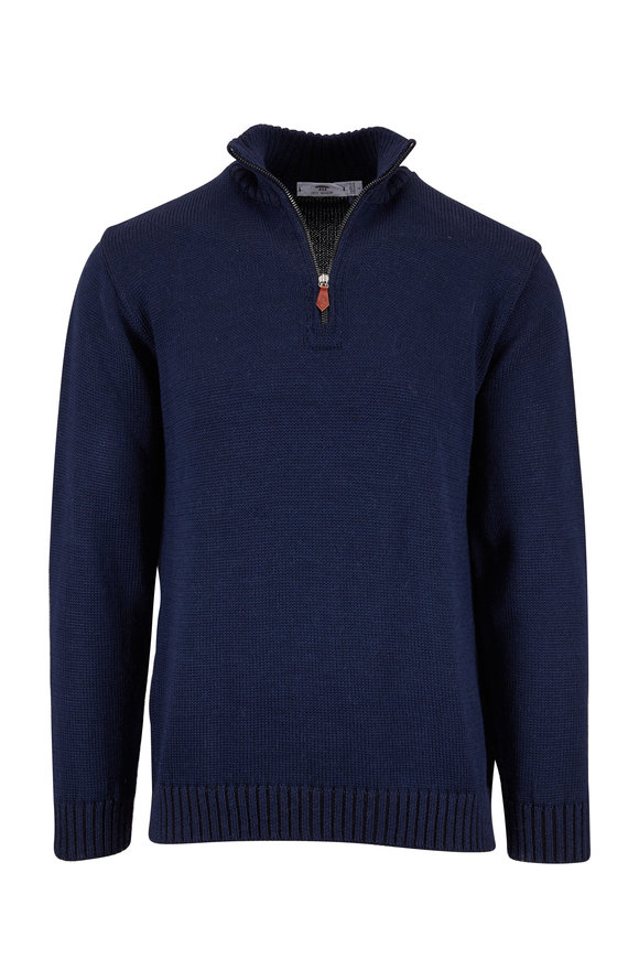 Inis Meain Knitting Co. Steel Blue Quarter-Zip Pullover