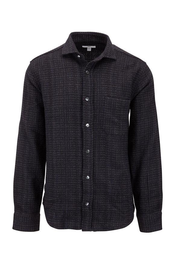 Inis Meain Knitting Co. Olive & Gray Melange Overshirt