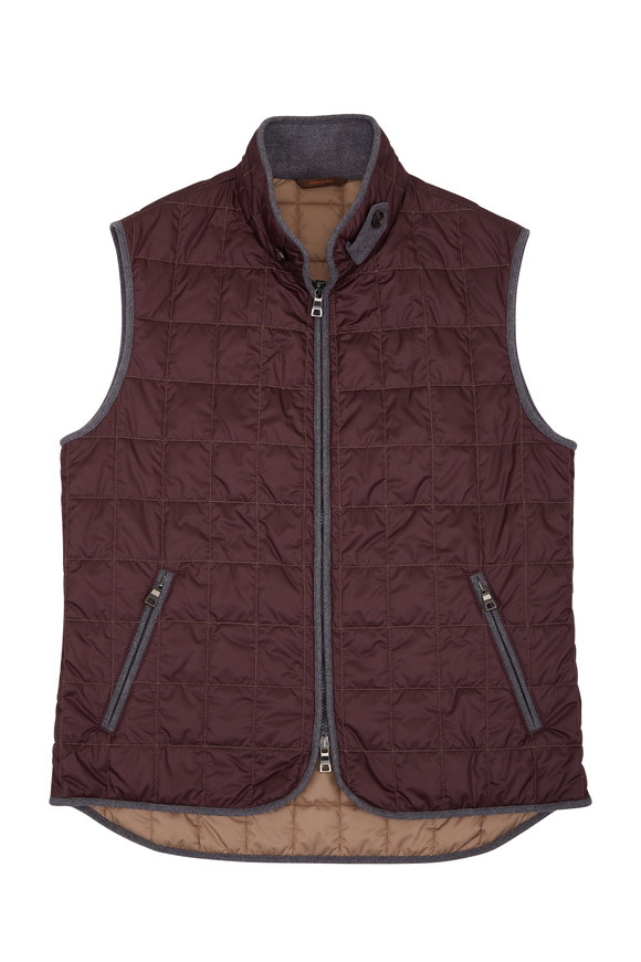 Waterville Theo Burgundy Box Quilted Vest