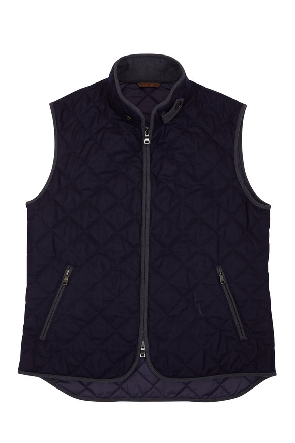 Waterville Theo Navy Wool Flannel Quilted Vest