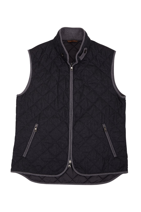 Waterville Theo Charcoal Gray Wool Quilted Vest