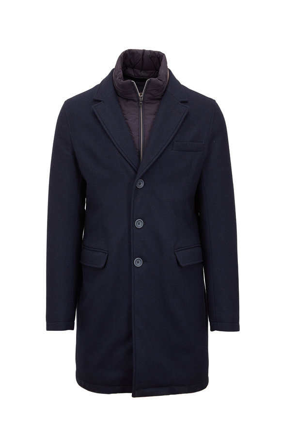 Herno Navy Wool Overcoat With Windguard