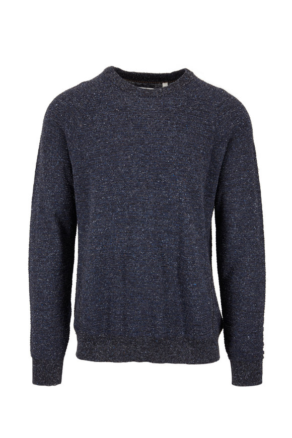 Billy Reid Navy & Charcoal Speckled Crewneck Sweater