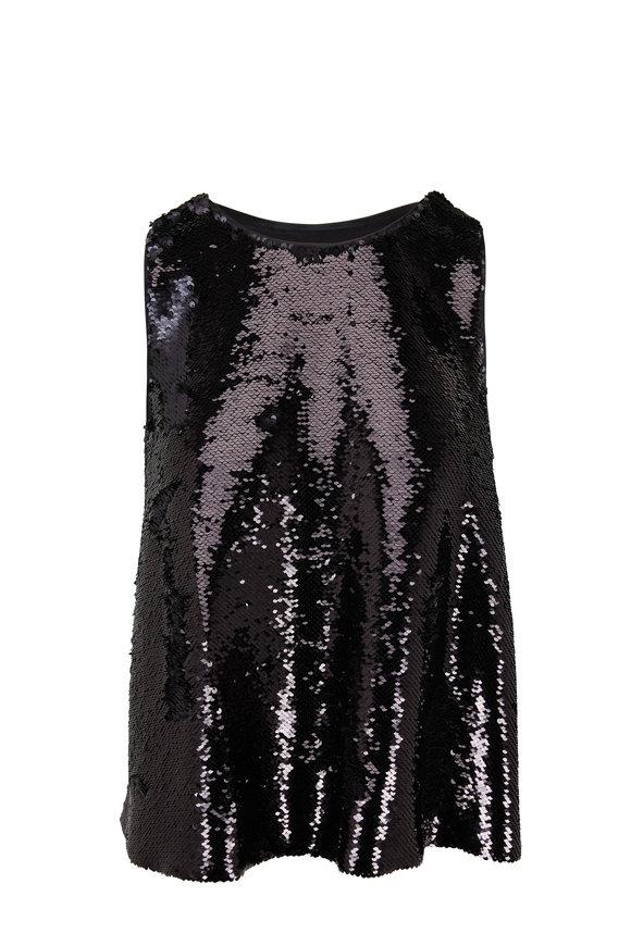 Emporio Armani Black Sequin Sleeveless Top