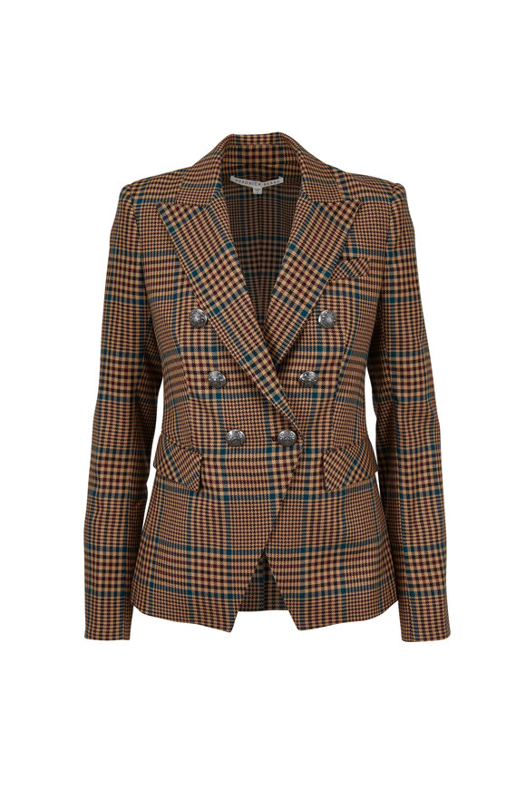 Veronica Beard Miller Petrol Plaid Double-Breasted Dickey Jacket