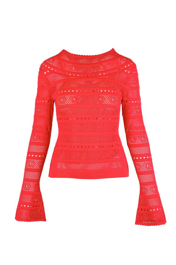 Oscar de la Renta Red Sheer Lace Stitch Knit Blouse