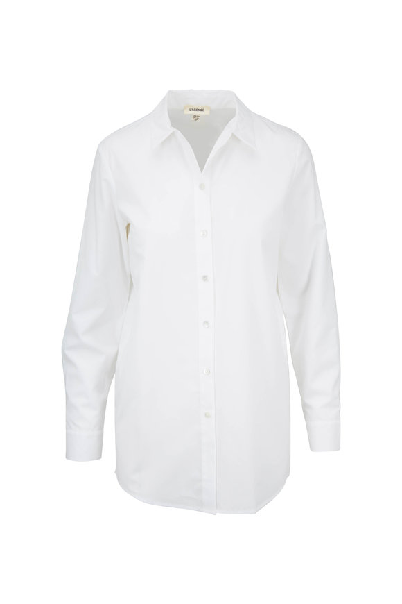 L'Agence White Cotton Button Down Tunic
