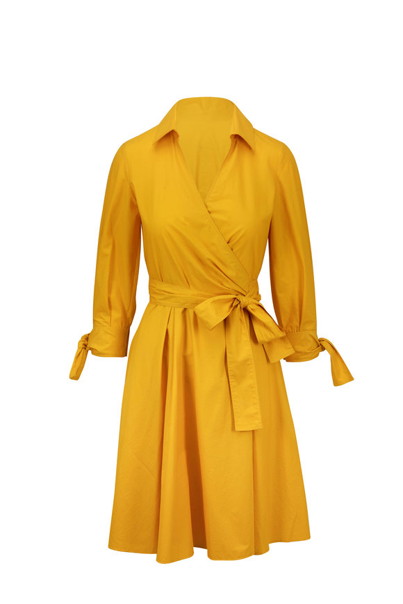 Paule Ka Yellow Poplin Belted Wrap Dress
