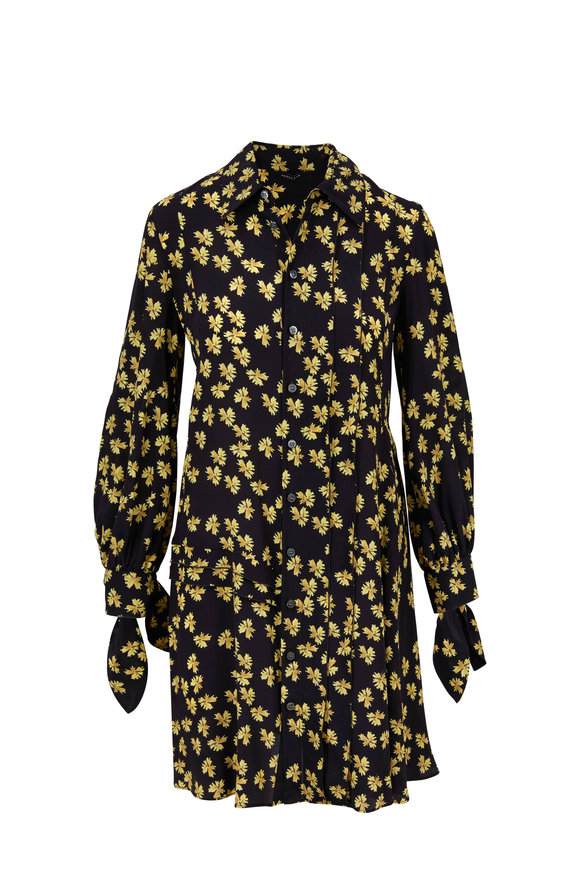 Derek Lam Black & Gold Silk Floral Printed Shirtdress