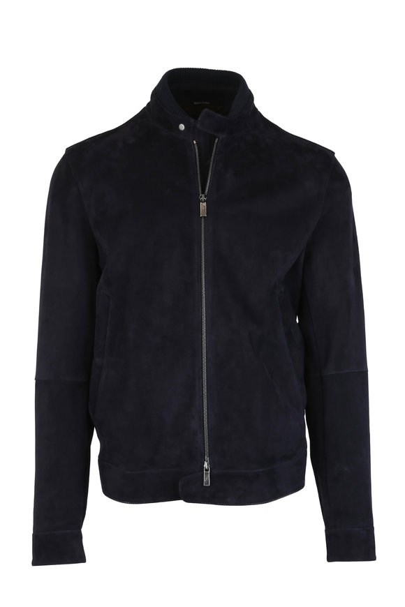 Ermenegildo Zegna Navy Blue Suede Jacket