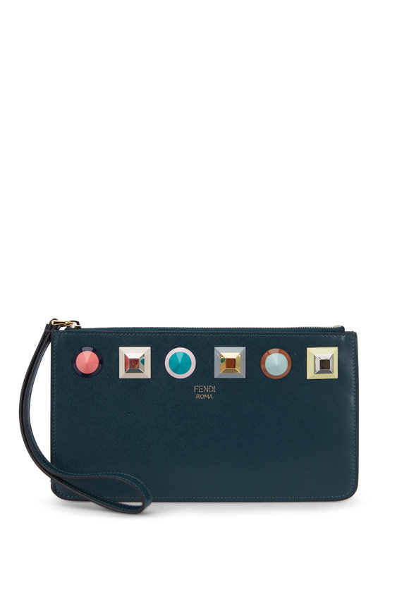 Fendi Liberty Green Leather Rainbow Studded Wristlet