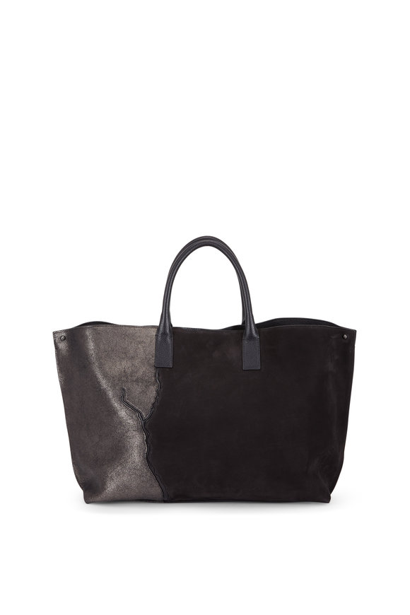 Akris Ai Black & Graphite Leather & Suede Patchwork Tote