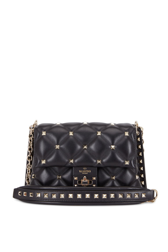 Valentino Garavani Candystud Black Leather Medium Shoulder Bag