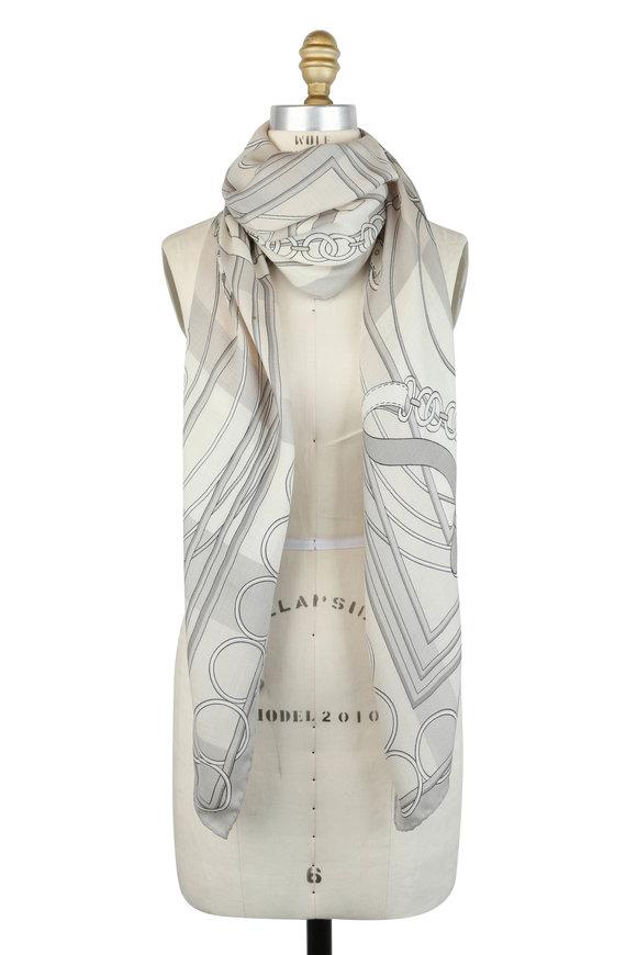 Rani Arabella Gray Venezia Print Cashmere, Silk & Wool Scarf