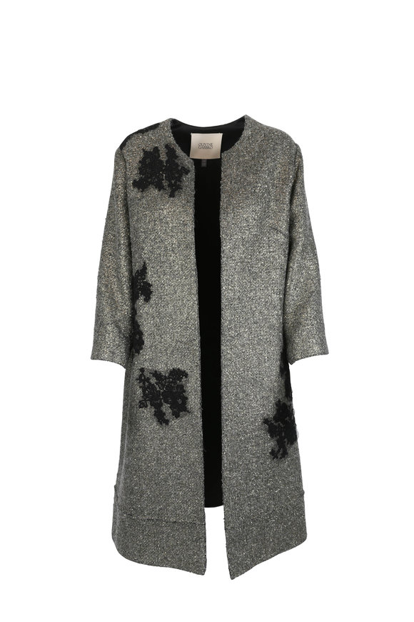 Olivine Gabbro Gold Metallic Wool Coat