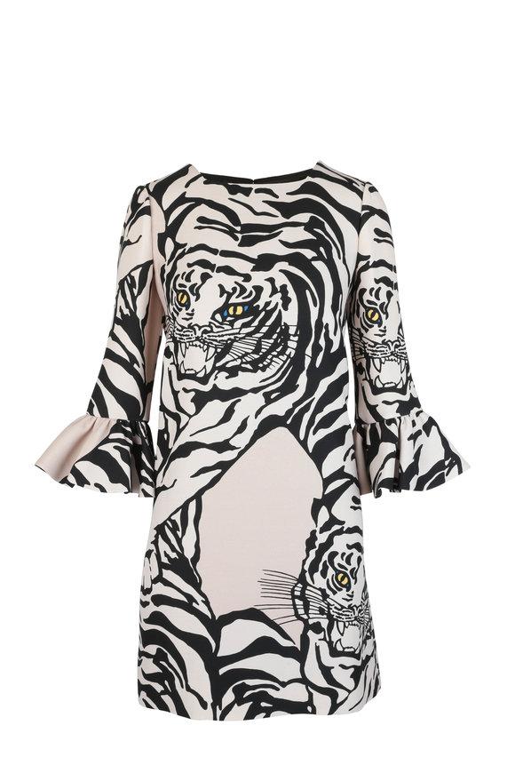 Valentino 1967 Black & Beige Tiger Wool & Silk Dress