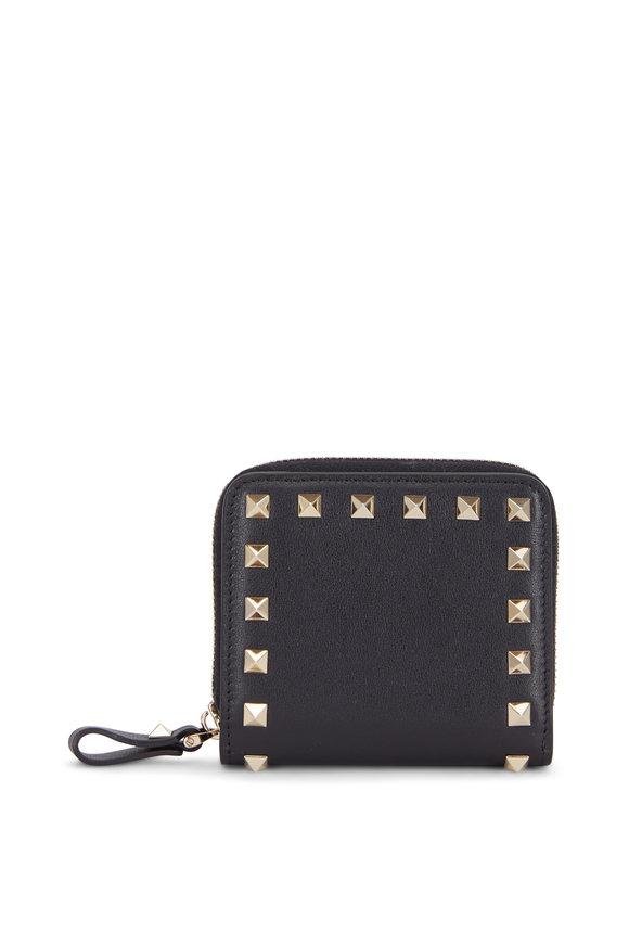 Valentino Garavani Rockstud Black Leather French Wallet