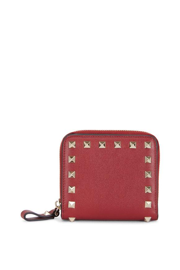 Valentino Garavani Rockstud Rubino Leather French Wallet