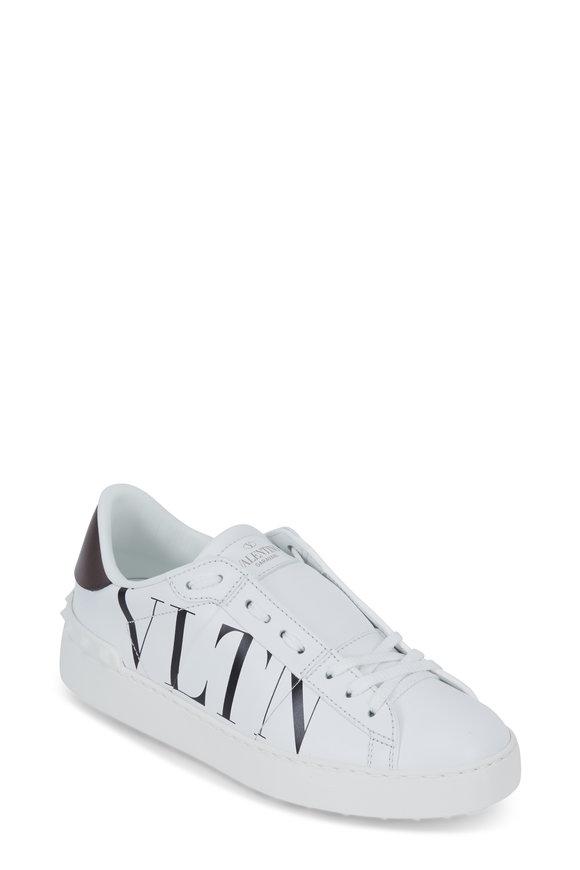 Valentino Garavani White & Black Leather Logo Open Sneaker