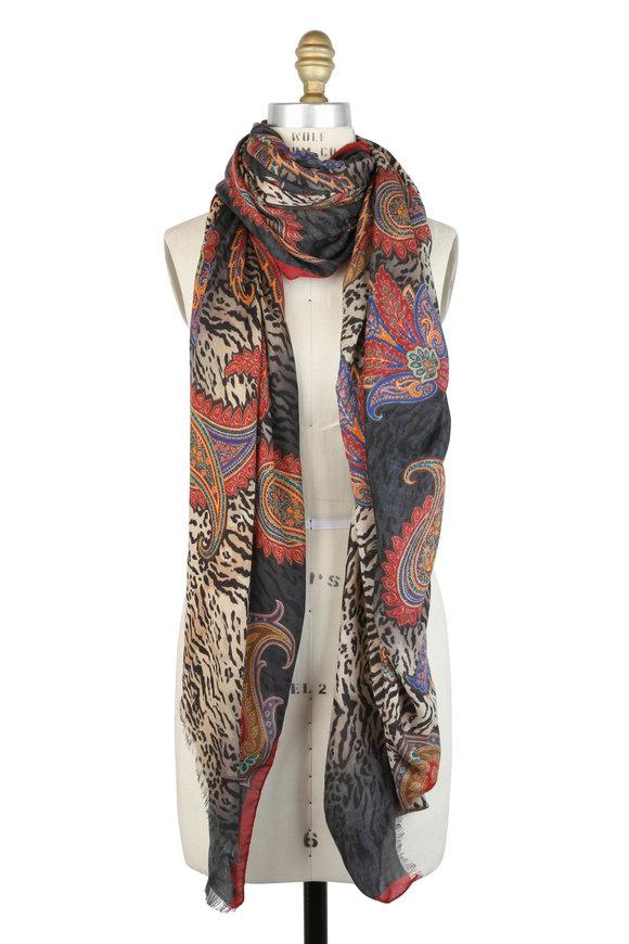 Etro Autumn Tiger Print Cashmere Blend Scarf
