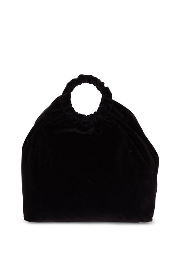 The Row Double Circle Black Velvet XL Top Handle Bag