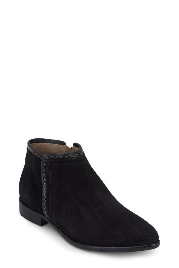 Italeau Mirald Black Suede Stud Detail Side-Zip Boot, 25mm