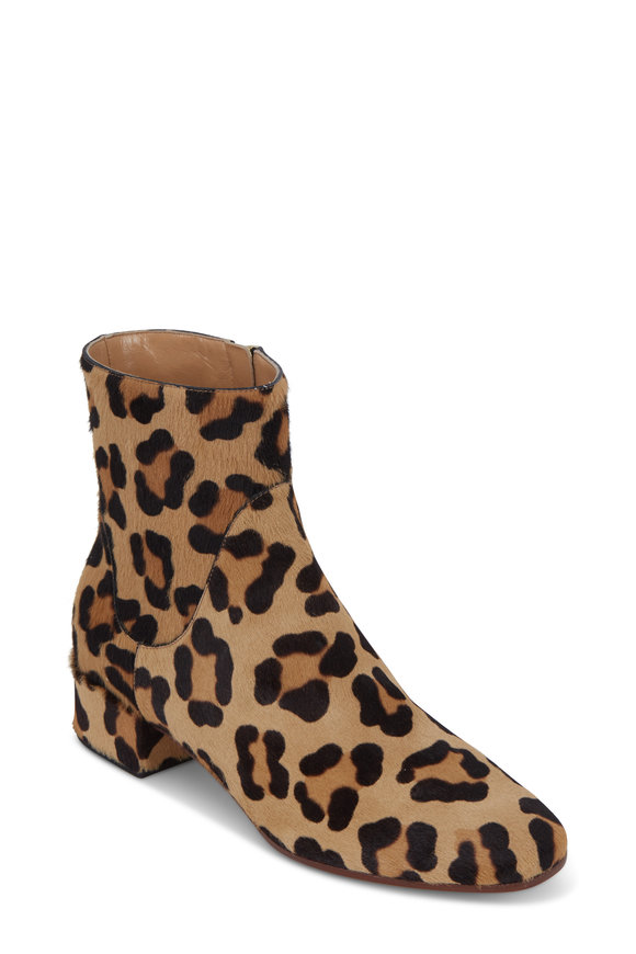 Francesco Russo  Leopard Print Calf Hair Bootie, 30mm
