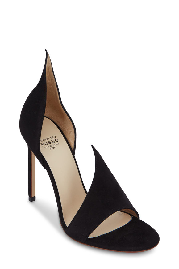 Francesco Russo  Black Suede D'Orsay Open Toe Pump, 105mm