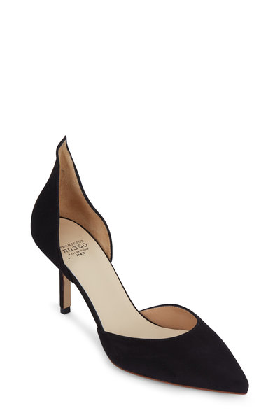 Francesco Russo - Black Suede D'Orsay Pump, 75mm