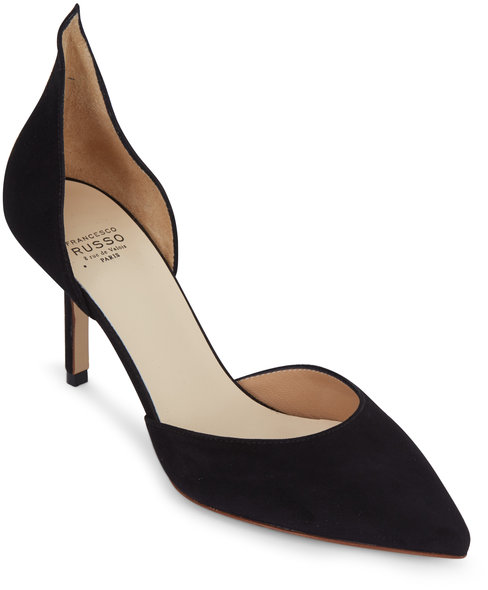 Francesco Russo  Black Suede D'Orsay Pump, 75mm