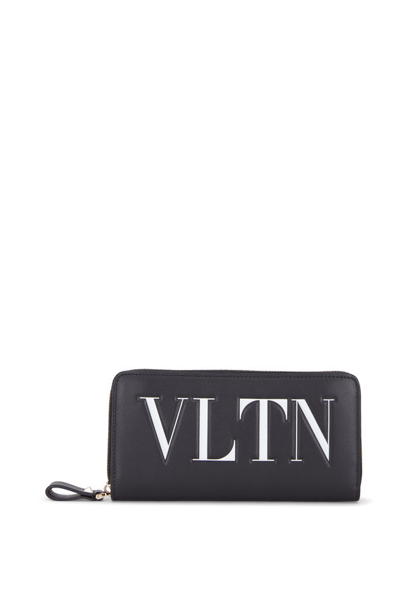 Valentino Garavani VLTN Black & White Leather Zip Around Wallet