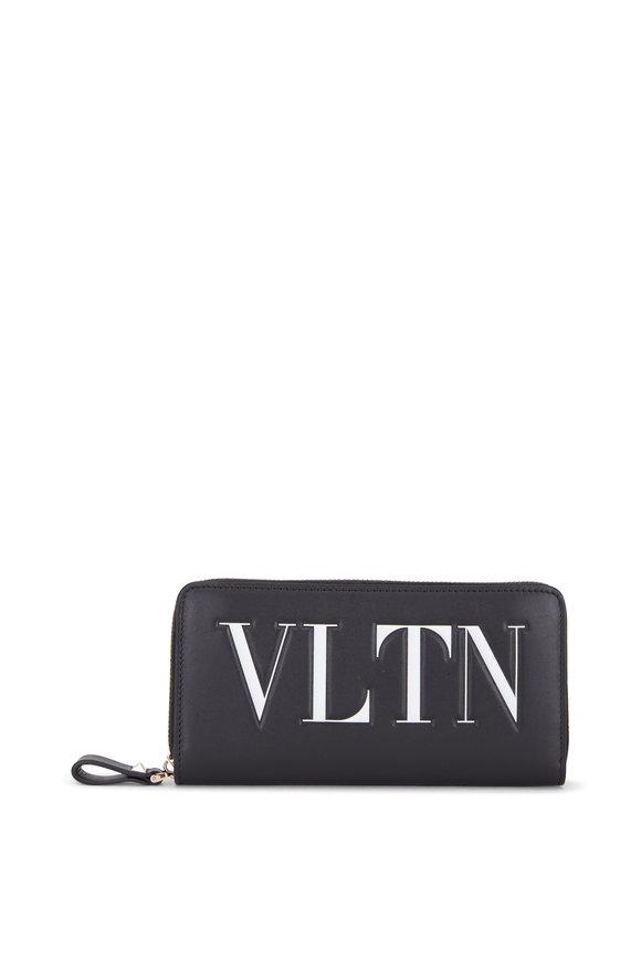 Valentino Garavani VLTN Black & White Leather Zip Around Wallet
