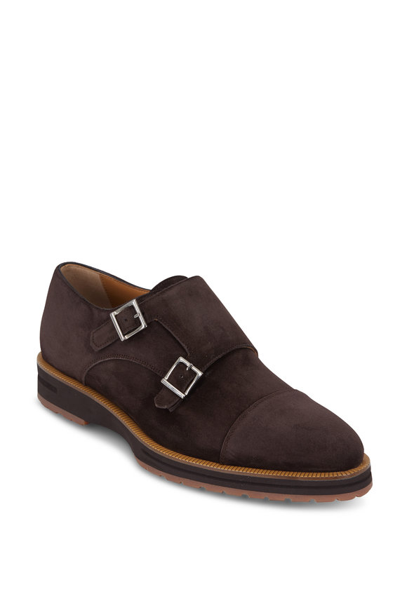 Di Bianco Brown Suede Double-Monk Oxford