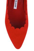 Manolo Blahnik - Srilasfla Red Suede Scallop Flat