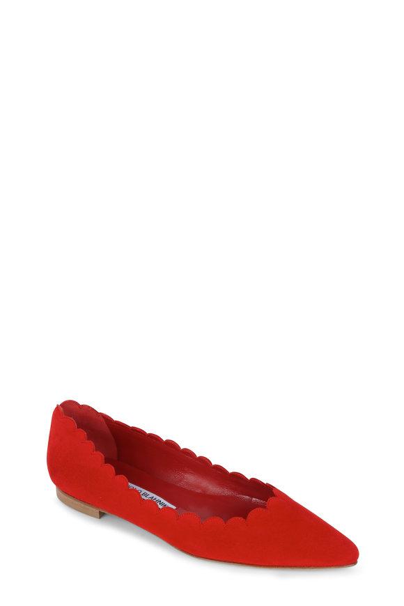 Manolo Blahnik Srilasfla Red Suede Scallop Flat