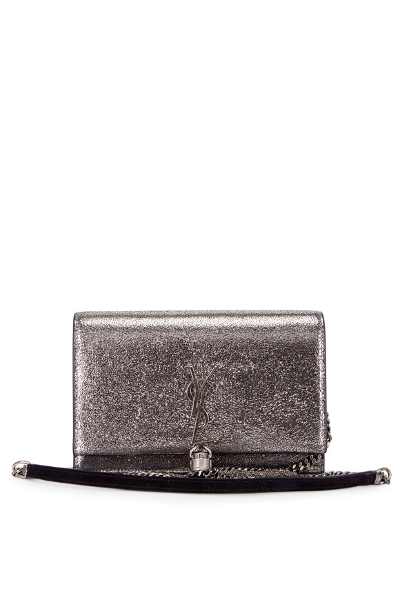 Saint Laurent Kate Dark Gray Crackled Leather Chain Wallet