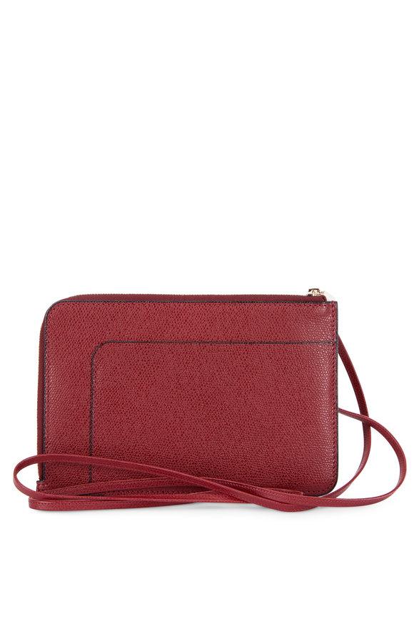 Valextra Garnet Saffiano Leather Zip Crossbody