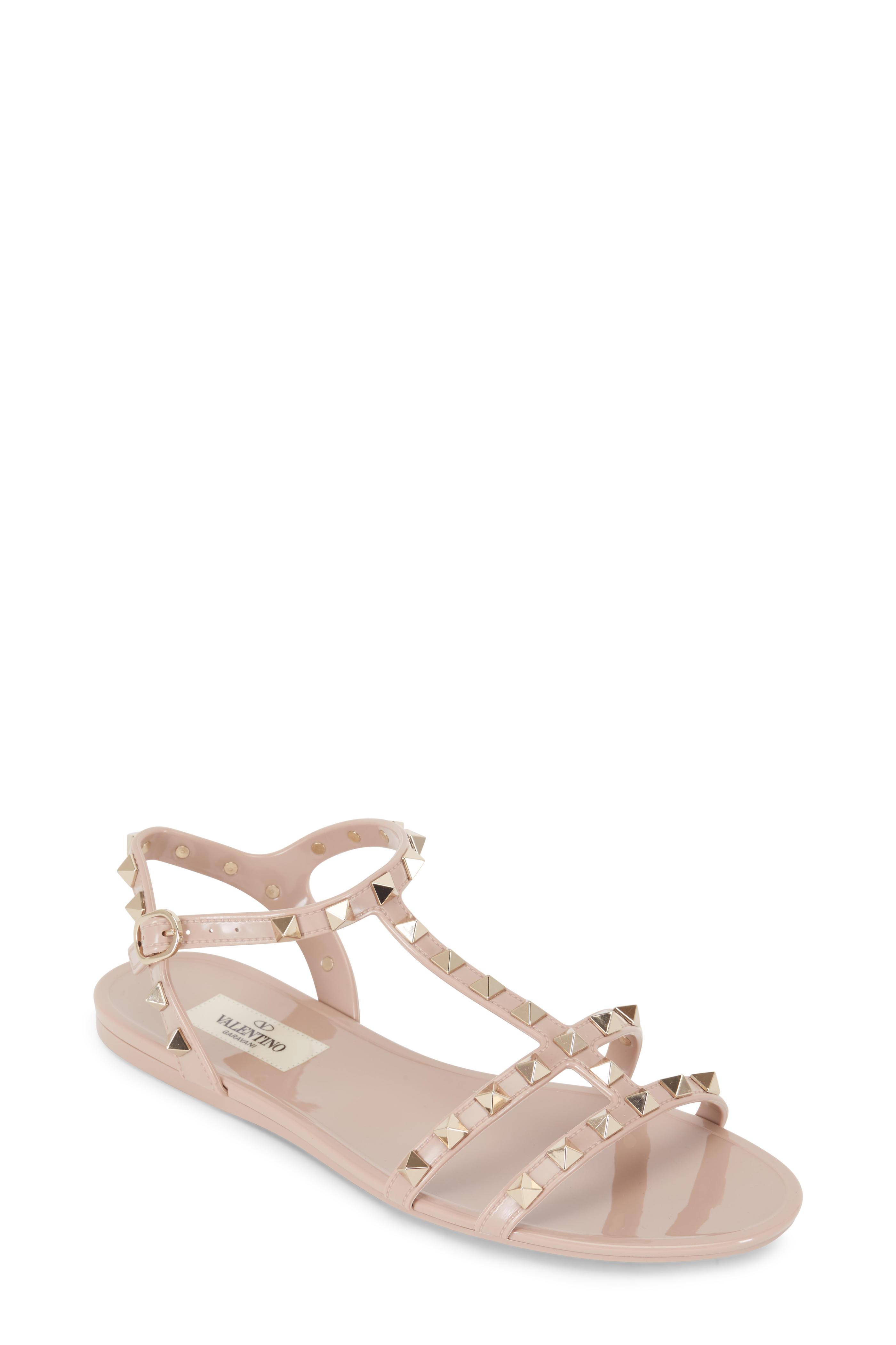 f3996ba47e6 Valentino Garavani - Rockstud Poudre PVC Flat Sandal | Mitchell Stores